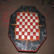 <p>Concrete Game Table with Aurora metal flake epoxy</p>